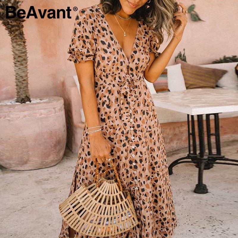 BeAvant Leoprad Print Fashion Midi Dress Women 2020 Short Sleeve Boho Casual Dress Female High Wasit Summer Split Sexy Dresses