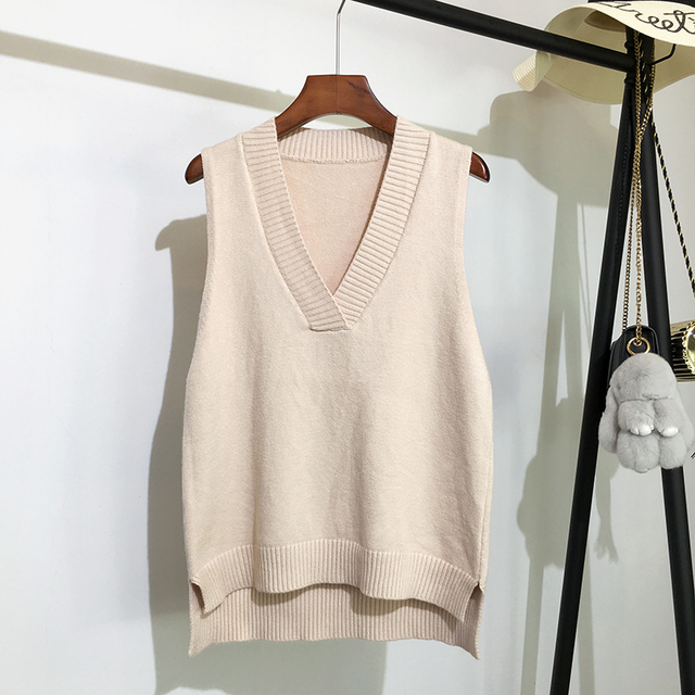 Women's 2020 Fashion Knitted Vest sweater Vintage Houndstooth V Neck Sleeveless Autumn Winter  Korean Style Pullover Loose Tops 1