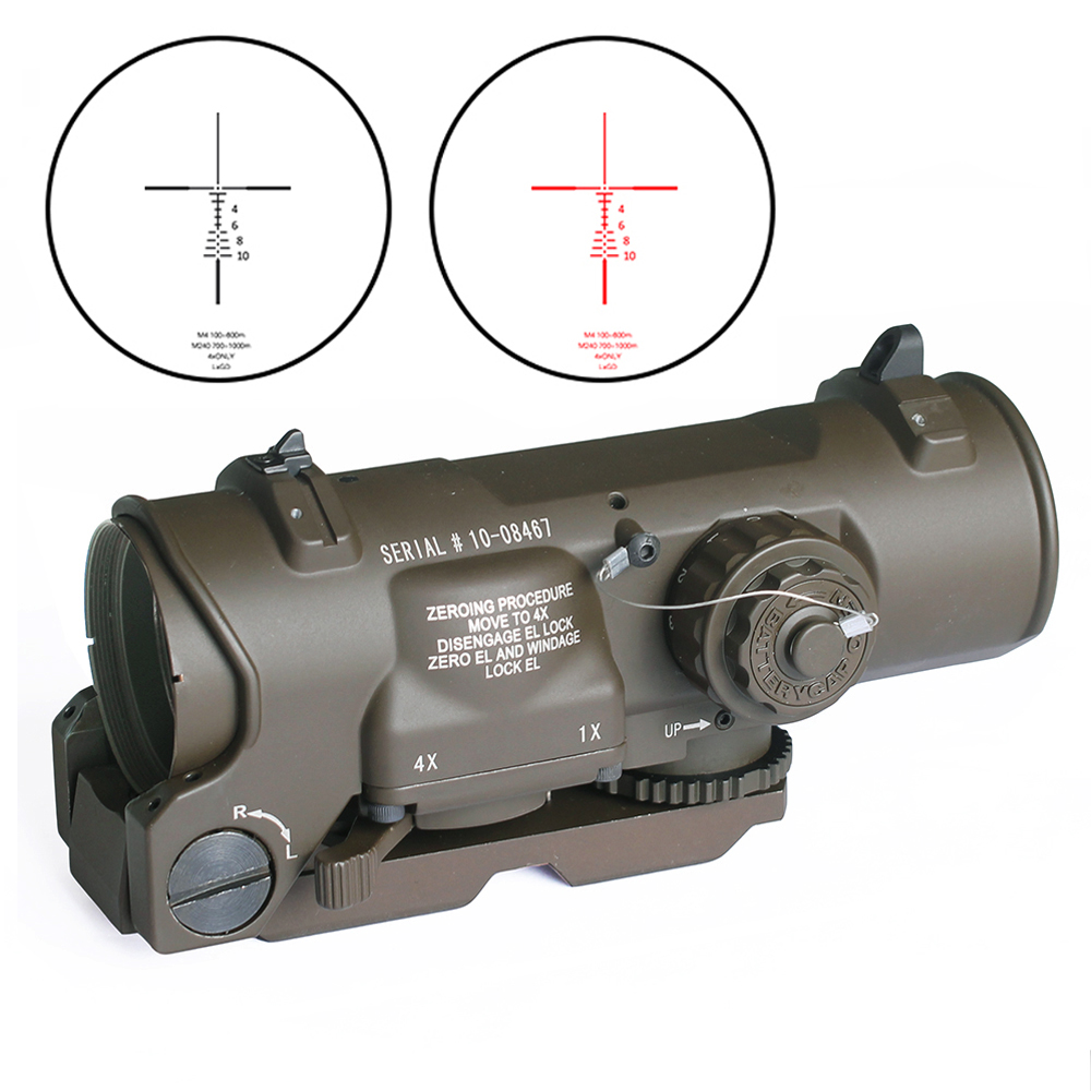 Tactical Rifle Scope 1x 4x Fixed Dual Purpose optical sight Red illuminated Red Dot Sight for