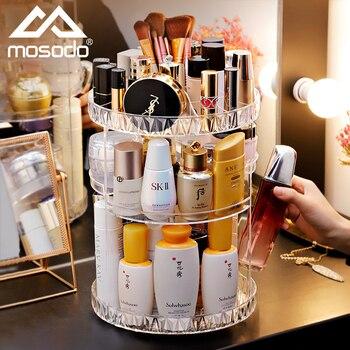 Mosodo-organizador de maquillaje giratorio, caja de acrílico, estante de almacenamiento de cosméticos, soporte de productos de belleza para el cuidado de la piel, herramientas de almacenamiento
