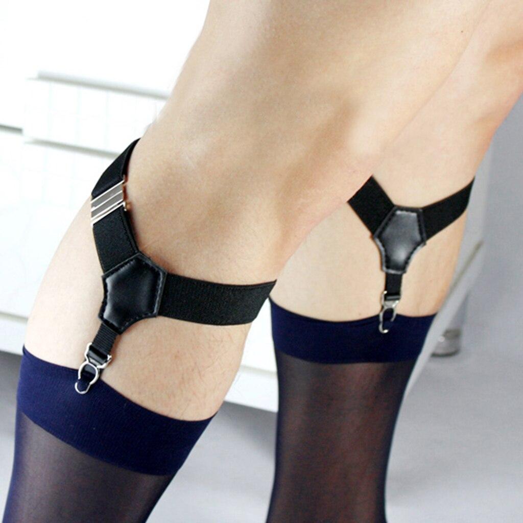 1Pair Men's Uniform Sock Suspender Garters Adjustable Garters Black