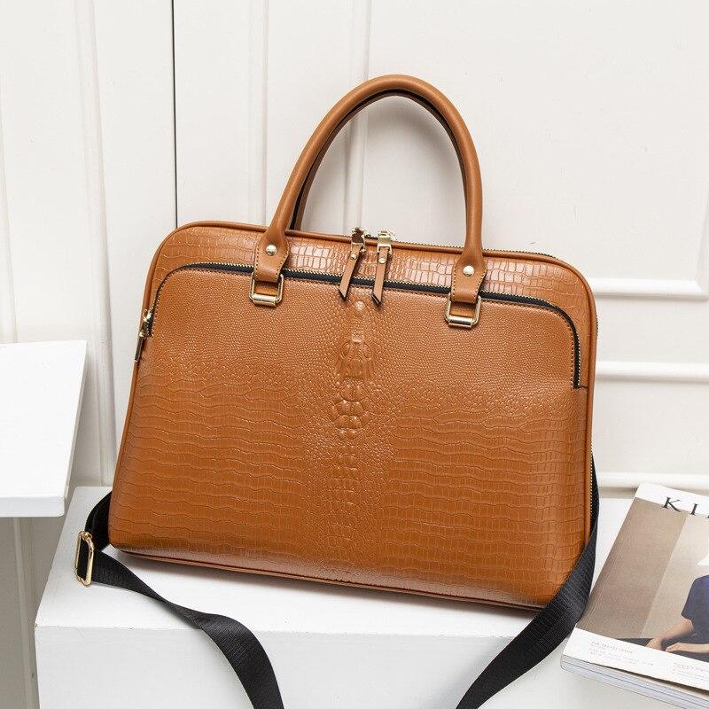 Business Women's Briefcase Bag Woman Split Leather Laptop Handbag Work Office Ladies Crossbody Bags Handbags Computer 14 Inch