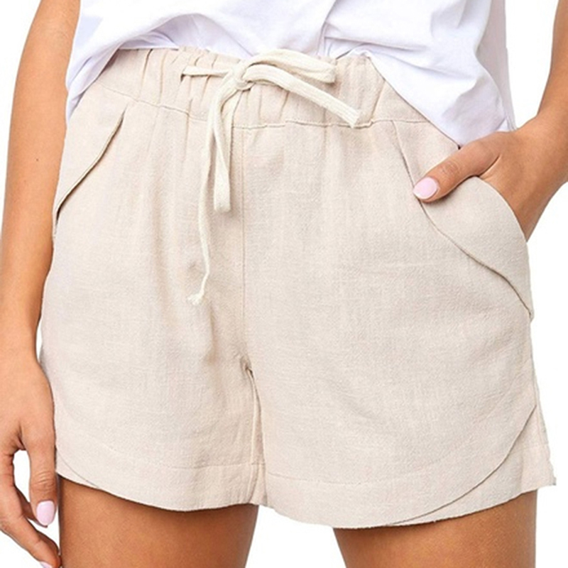 Women Casual High Waist Wide Leg Shorts Linen Shorts Fashion Pocket Women Shorts 2019 Summer All-match Female Shorts