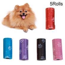 5 рулонов лапы печати мешки для мусора для собак кошек собачьих отходов пакеты для экскрементов мешки для мусора открытый дом сумка для мусорных мешков товары для домашних животных