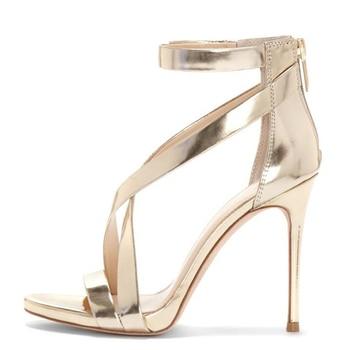 YECHNE 11 Cm High Heels Sandals Women Golden Wedding Sandals Plus Size 33 - 43 Party Shallow Sexy Silver Summer Pumps