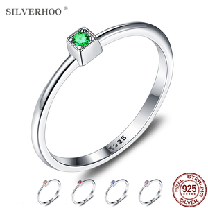 SILVERHOO Genuine 925 Sterling Silver Ring 5 Colors Wedding Rings For Women Minimalist Thin Circle Zircon Fine Silver Jewelry