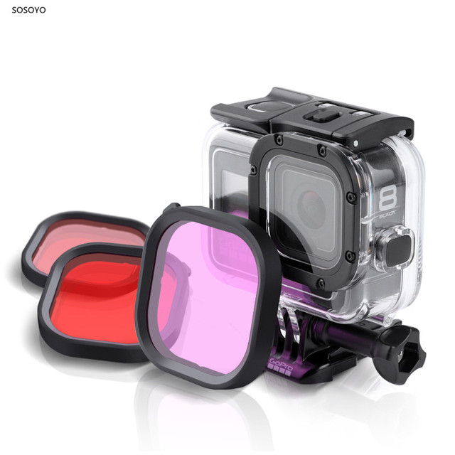 Original Waterproof Case Filter Protective Shell Purple Pink Red Filters For Gopro Hero 8 Black Action Camera Accessories
