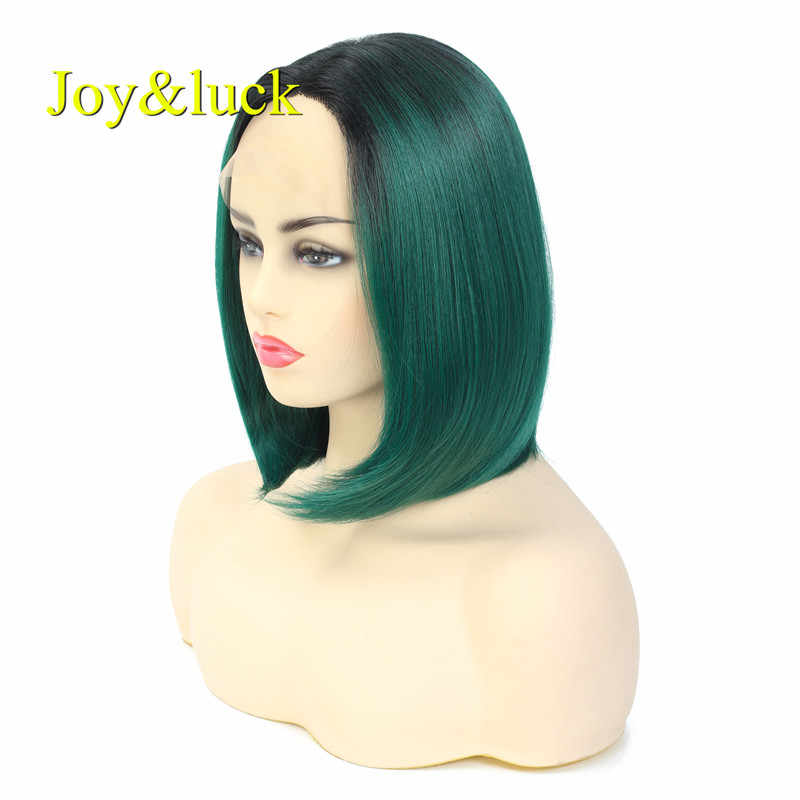 Joy&luck 12 inch Lace Front Wig Short  Bobo Wig  Omre Green Color Straight  Synthetic  Wigs for Women