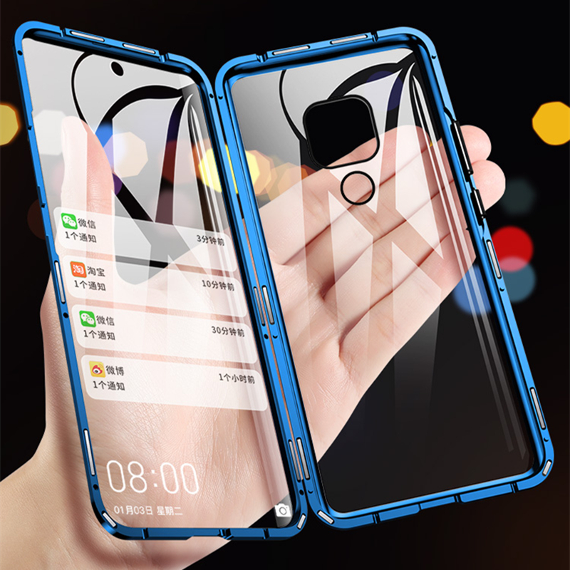 360 Total Proteção Casos Magnéticos Para Huawei Companheiro 20 P30 P20 Pro lite Caso de Dupla face de Vidro Temperado Para Honra 10 8X 9X Capa