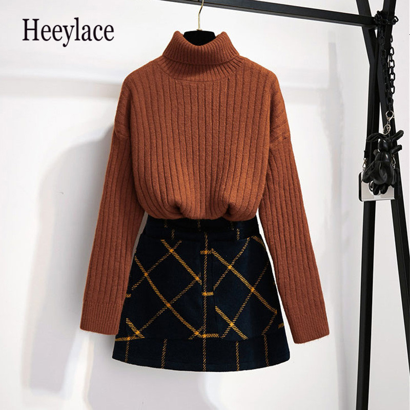 Women Fashion Winter Knitted Simple Turtleneck Slim Sweaters Tops+Plaid Woollen Cloth High Waist Mini Skirts 2 Pieces Suits