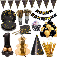 Disposable Tableware Plate Birthday-Supplies Party-Girlfriend Polka-Dot Black Theme Gold
