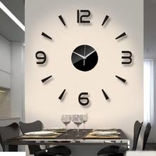 2019 חדש 3D שעון קיר מראה קיר מדבקות אופנה סלון קוורץ שעון DIY עיצוב הבית שעוני מדבקת Reloj דה pared