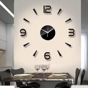 Image 1 - 2019 New 3D Wall Clock Mirror Wall Stickers Fashion Living Room Quartz Watch DIY Home Decoration Clocks Sticker reloj de pared