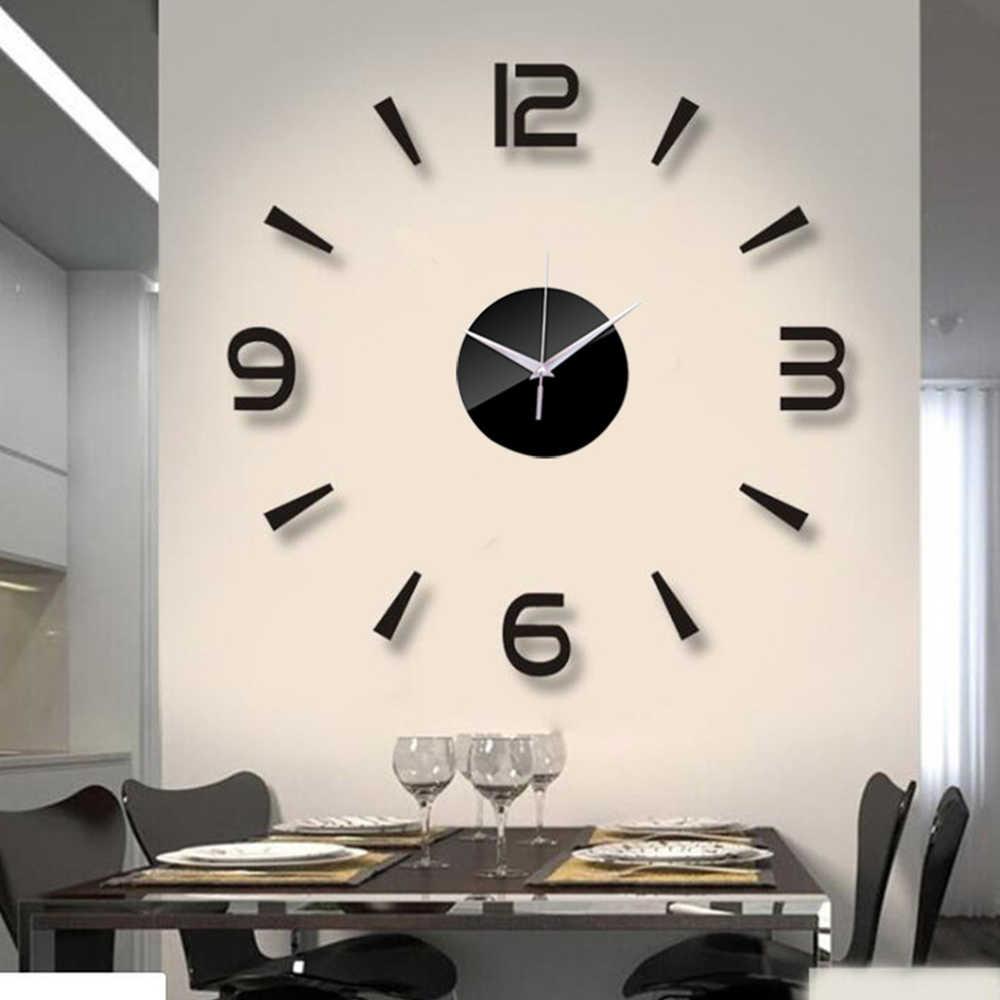 2019 nowy 3D zegar ścienny naklejki ścienne z efektem lustra moda salon kwarcowy zegarek dekoracje dla domu DIY zegary naklejki reloj de pared
