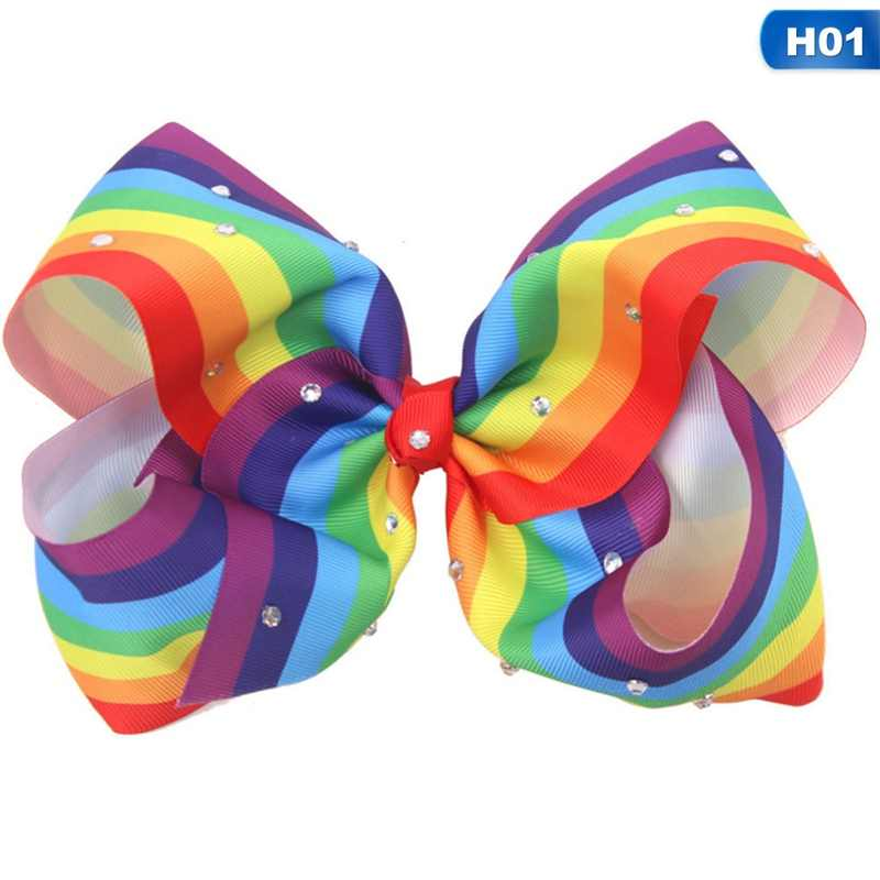 8-inch bow hairpin rainbow gradient contrast threaded headband Fashion Hair Accessories