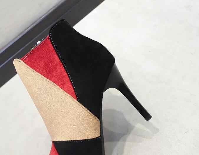 Kış kadın Ayak Bileği Martin çizmeler ayakkabı kadınlar Sivri Burun rahat yüksek topuklu zip sıcak Kar botları kadın Patik mujer zapatos g384