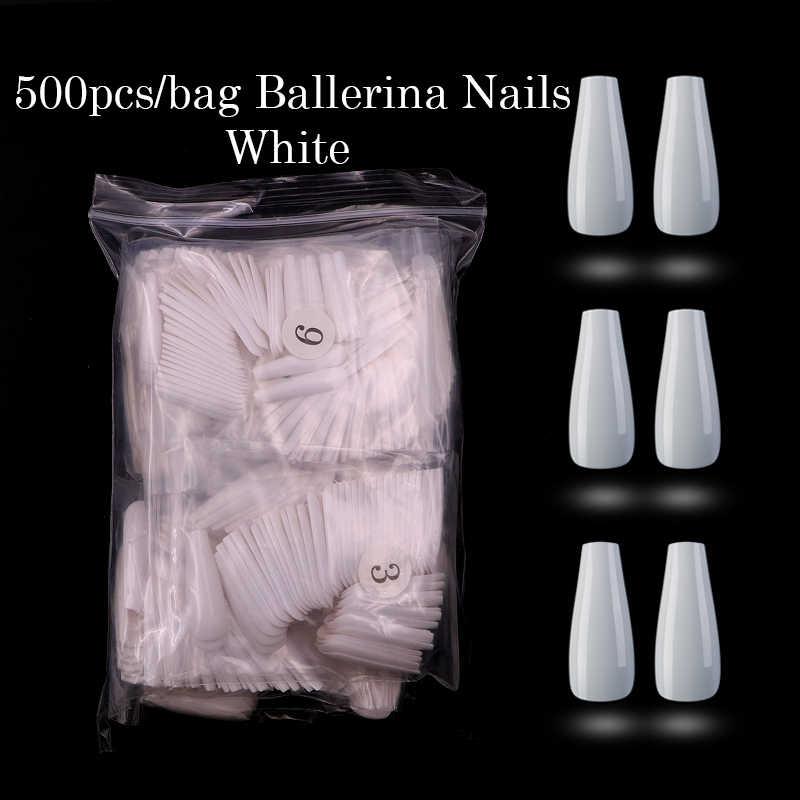 500 stücke Sarg Form Ballerina Gefälschte Nagel Tipps Acryl Salon Nägel Natürliche Klar Voll Falsch Nail art Drücken Sie auf Faux ongles Maniküre