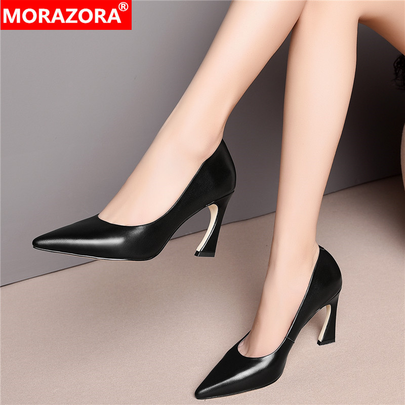 MORAZORA 2020 Hot Sale Fashion Summer Women Pumps Pointed Toe High Heels Shoes Genuine Leather Dress Shoes Woman Big Size 33-43