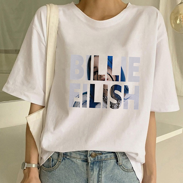 Billie Eilish 2020 Summer T Shirt Women Hip Hop Tops Funny Fashion Tshirt Harajuku Ulzzang 90s Streetwear T-shirt Casual Female