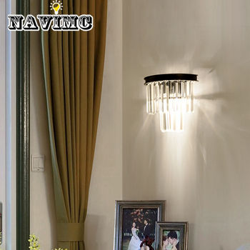 American Retro Country Smoke Gray Amber LED Crystal Wall Lamp Corridor Bedside Lighting Fixtures