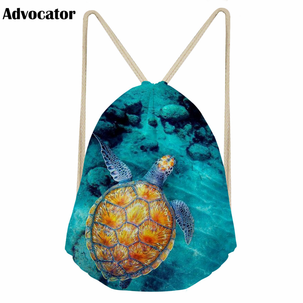 ADVOCATOR New Sea Turtle Pattern Drawstring Bag For Students Kids Canvas Bag Backpack For Teenager Boys Girls Daily Storage