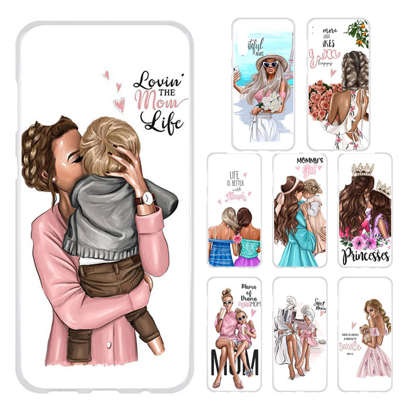 Black Brown Hair Baby Mom Girl Silicone Case For <font><b>Huawei</b></font> Y5II Y5 II Y6 ii Compact Y6 ii MINI <font><b>CUN</b></font>-<font><b>U29</b></font> Honor 5A 5.0