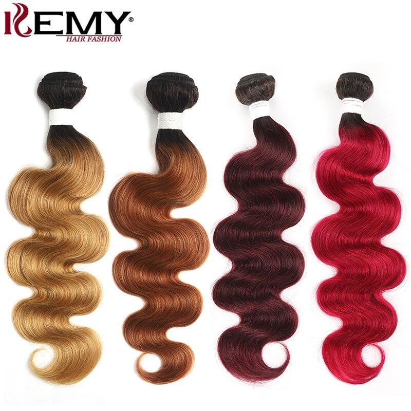Ombre Red Brown Hair Bundles KEMY HAIR Brazilian Body Wave Human Hair Weave Bundles 8-26inch Non-Remy Hair Extension 1 PC