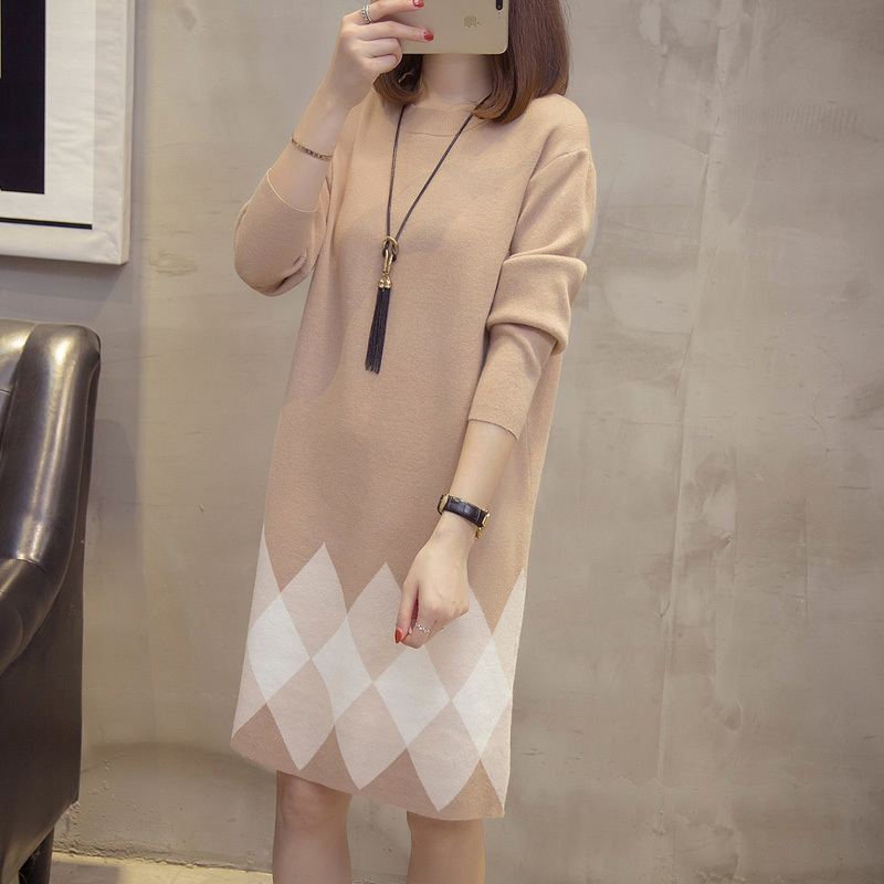Autumn Winter Pull Oversize Vintage Knitted Argyle Sweater Dress Korean Cashmere Long Pullover Sweater Dresses Pulls Sweat Femme