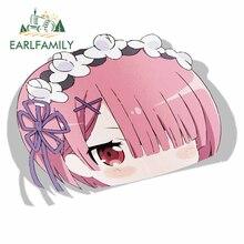 EARLFAMILY 13cm x 9.8cm for Ram Re Zero Peek Anime Big Head Vinyl Cartoon Car Sticker JDM Window Trunk Decal Car Accessories