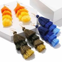 Bohemian Style Design Earrings Trend Long Tassel Female Fashion Vintage Ethnic Geometric Pendant Pendientes Oorbellen