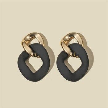 CWEEL Black Statement Earrings for Women Bohemian Boho Brincos Geometric Dangle Drop Earings Fashion Jewelry Unusual Earrings 1