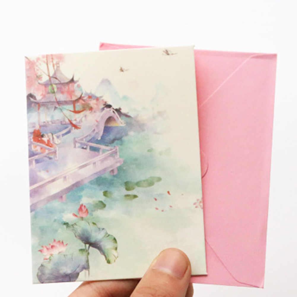1 סט נחמד חדש דגם Creative רטרו בסגנון הסיני רוצה כרטיס ברכה עבור תלמיד מכתבים סט