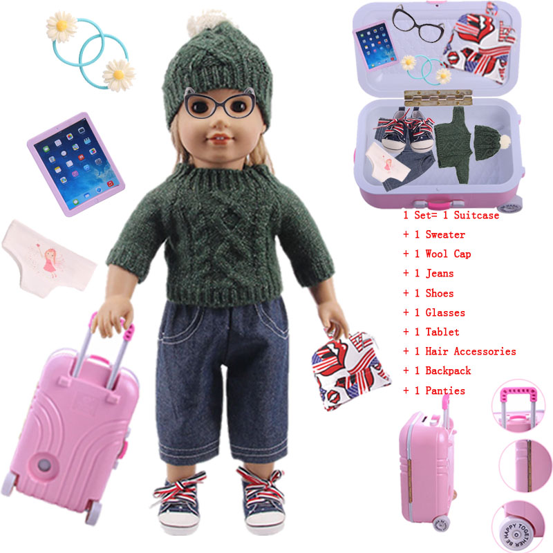 Super Affordable! 10 Pcs/Set (Sweater+Suitcase+...) Fit 18 Inch American Doll&43 Cm Baby Doll Clothes,Our Generation,Girl`s Toy