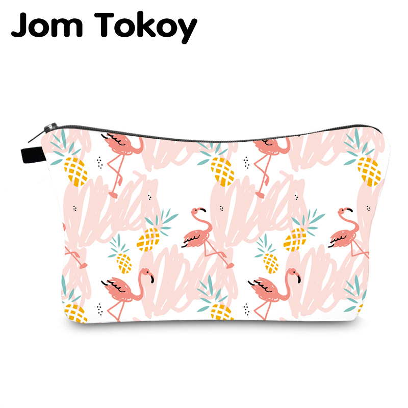 Jom Tokoy Cosmetic Bag Printing Flamingos Personalised Makeup Bags Organizer Bag Women Beauty Bag Hzb1004