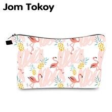 Jom Tokoy Cosmetic Bag Printing Flamingos Personalised Makeup Bags Organizer Bag Women Beauty Bag hzb1004 jom tokoy 2018 newtravelling makeup bag 3d printing geometric patterns zipper square cosmetic bags women