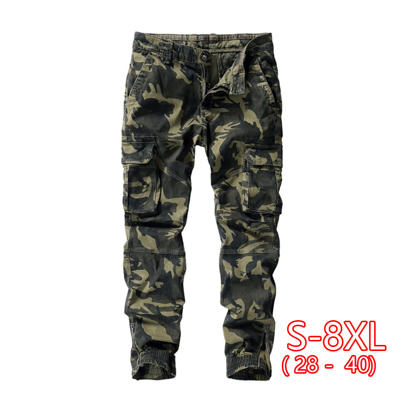 2020 Spring Overalls Mens Camouflage Casual Pants Large Size Nine Points Pants Washed Trousers Men