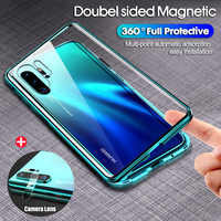 Double-sided Magnet 360 Protector Case For Huawei P30 Pro P30 P30 Lite Tempered Front Glass for Huawei Mate 20 Pro P20 Lite Case
