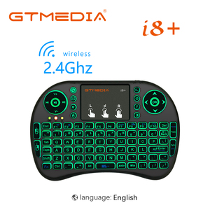 3-color backlit i8+ mini wireless keyboard 2.4G Russian English, air mouse with touchpad remote control, suitable for Android TV(China)