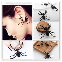 Halloween Decoration 1pcs 3D Creepy Black Spider Ear Stud Earrings for Party DIY NEW