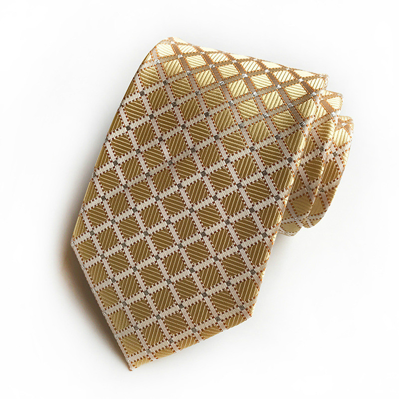 New Classical Mens Tie Gold Plaid 100% Silk Ties Fit Wedding Party Striped Paisley Formal Dress Necktie Mens Gifts