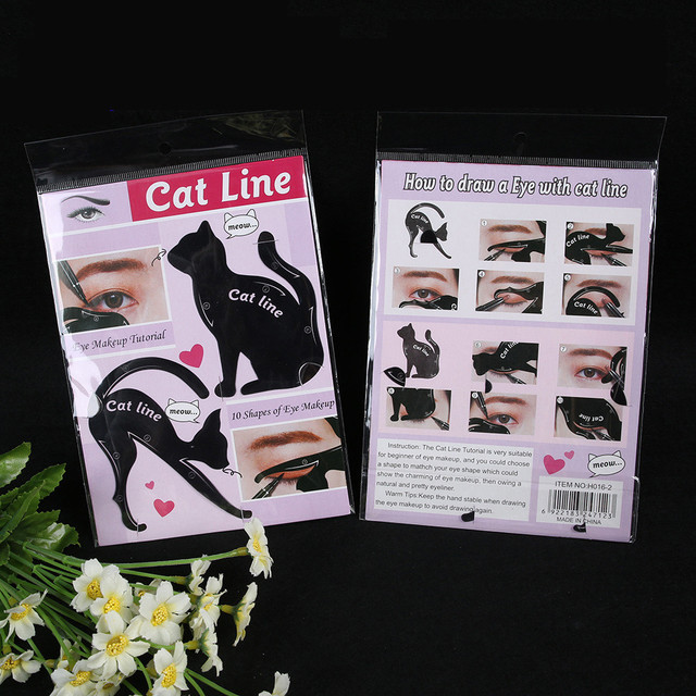 2Pcs Women Cat Line Pro Eye Makeup Tool Eyeliner Stencils Template Shaper Model Eyebrows And Eyeshadow Grooming 1