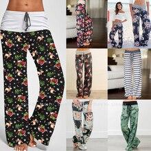 Women Floral Print Thailand India Pakistan Wide Leg Pants Lady Kurti Fashion Hig