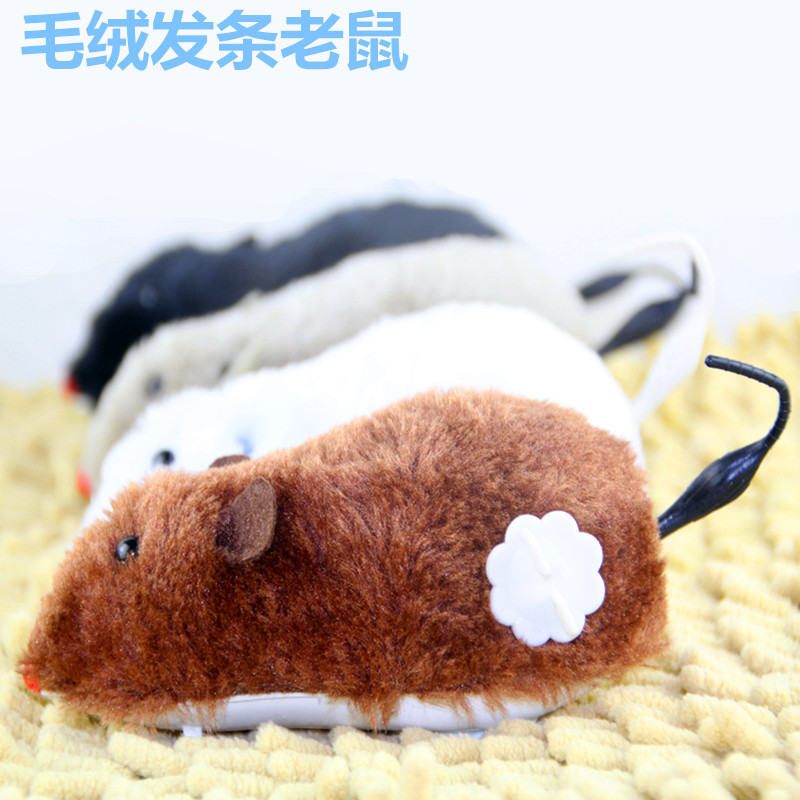Stall Hot Selling Toy Winding Mouse Spring Plush Mouse Long Time Run Multi-color Mixed Hair Best Seller-