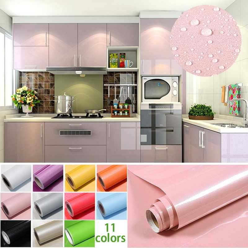 1M/Roll Self Adhesive Contact Paper Cabinet Glossy Waterproof PVC Cabinet Wallpaper For Door Furniture Stickers Bathroom Kitchen