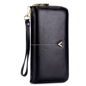 New Arrivals 100% Genuine Leather V Sequined Women Wallets Female Clutch Zipper Clutch Purses Phone Pocket With Hand Rope(China)