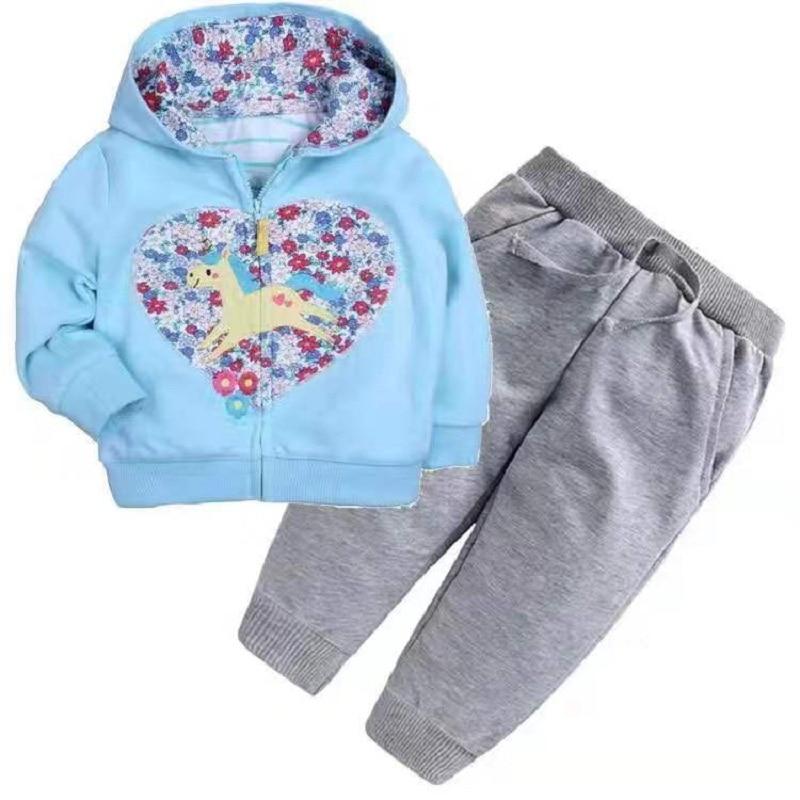 Одежда для маленьких девочек пальто с капюшоном с длинными рукавами и вышитым единорогом+ штаны, г. Весенняя одежда для маленьких мальчиков комплект для малышей, одежда для малышей - Цвет: 10