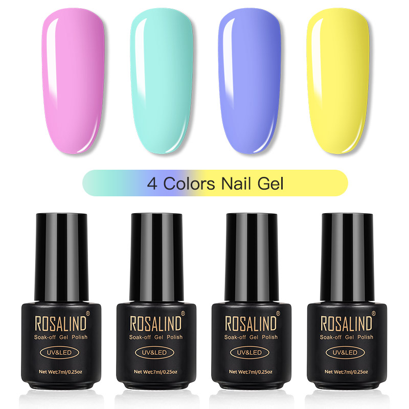 ROSALIND Gel Nail Polish Set Solid Color Nail Kit For Manicure Vernis Semi Permanent 7ML Gel Kit Top And Base All For Manicure 17