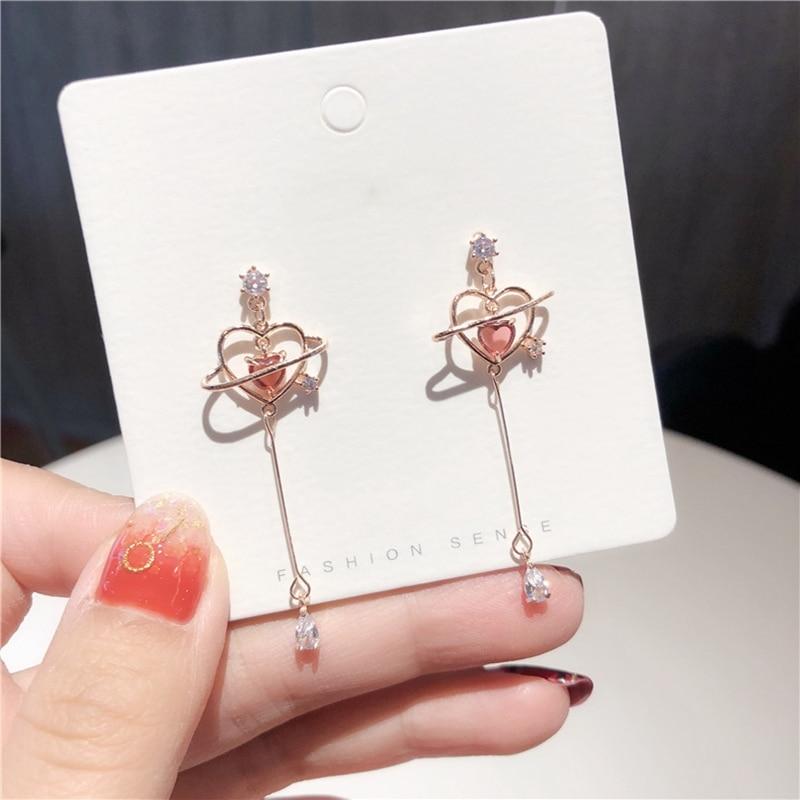 Retro Cute Geometric Heart Crystal Long Drop Earrings For Women Fashion Sexy Elegant Zircon Dangle Earrings Female Party Jewelry