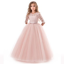 New Princess Lace Dress Kids Flower Embroidery Dress For Girls Vintage Children Dresses For Wedding Party Formal Ball Gown 5-14Y(China)