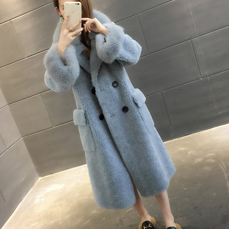 Women's Real Fur Coat Autumn Winter Jacket Women Clothes 2020 Fox Fur Collar Wool Coats Korean Vintage Long Women Tops ZT1578 image